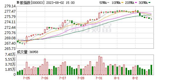 B股指数30分钟K线走势图